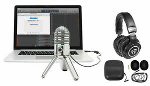 Samson Podcast Recording Podcasting Microphone+Pro Headphones+Cables+Case