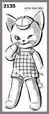 Cute Vintage Mail Order Kitten Sock Doll  Stuffed Toy Fabric Sew Pattern # 2135T