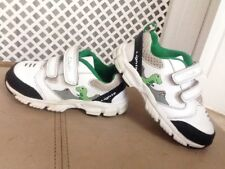 PRE-OWNED GIRLS/BOYS FLASHING CLARKS WHITE LEATHER TRAINERS SIZE UK 4 1/2 INFANT