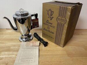 "1950's CHROME MIRRO-MATIC COFFEE W/ ORIGINAL BOX ""NEW OLD STOCK."""