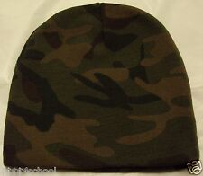 "DELUXE 8"" WOODLAND CAMO CAMOUFLAGE WINTER SKI KNIT BEANIE SKULLY WATCH CAP HAT"