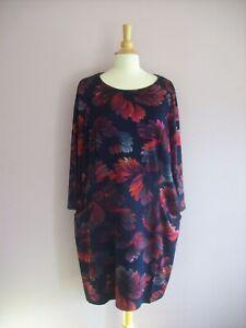 ROMAN Size 18 Navy Blue Pink Red Grey Leaf Print Long Sleeve Stretch Shift Dress