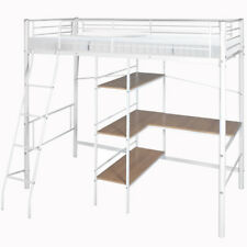 White Metal Frame High Sleeper Bunk Bed with Desk Shelves Storage Single Kid Bed