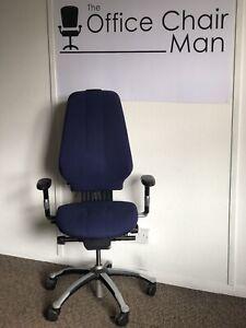 RH 400 High Back Orthopaedic Executive Operator Chair 3 Button Original Blue