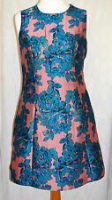 MONSOON Size 18 Dress Jacquard Blue Pink Gold Shimmer A Line Cocktail Party *NEW