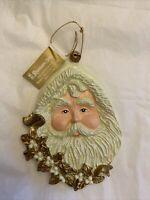 Santa Claus Face Head Ornament Ceramic Christmas Holiday