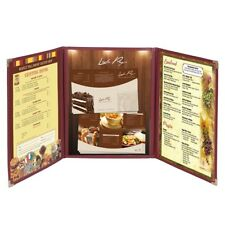 30pcs Menu Cover 8.5x14 Triple Fold 6 View Double Stitch Restaurant Deli Cafe