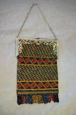 1920's Beaded Metal Framed, Purse / Handbag, Black, Rich Colors,