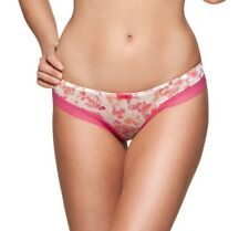 GOSSARD FRENZY THONG PINK SILVER FLORAL SHIMMER LACE KNICKERS PANTS 8636 NEW