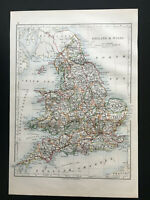 Antique Map Of England & Wales 1892