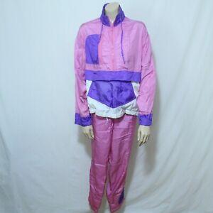 80's New Concepts Tracksuit Jacket Pants Warm Up Pink Purple Neon Sz L Nylon Vtg