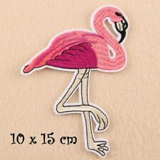 OISEAU FLAMANT ROSE ** 10 x 15 cm ** ÉCUSSON PATCH BRODÉ THERMOCOLLANT