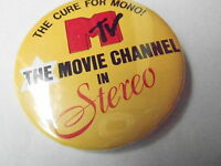 VINTAGE PINBACK BUTTON #74-063 - MTV - MOVIE CHANNEL IN STEREO