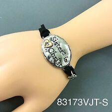 Bohemian Style Black Suede Silver Hammered Sisters in Christ Engraved Bracelet