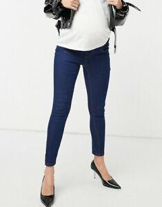 Influence Maternity Jeggings Jeans Size 12 Dark Blue Super Skinny New JA59