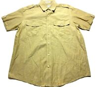 Orvis Mens Beige Front Pocket Button Front Short Sleeve Shirt Size Large