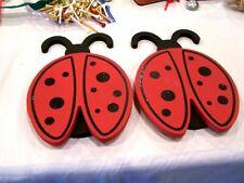 set of 2 ladybug wall plaques/decor/ wood and glitter