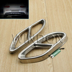 2X Exhaust Pipe Tips Cover For Mercedes Benz ABCE Class CLA GLC GLE GLS