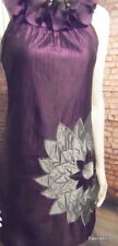 stylish metallic aubergine grey applique Floral Dress no sleeve ruffle neck 10