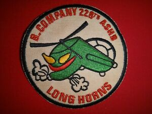 B Company US 228th Assault Support Helicopter Bn LONG HORNS Vietnam War Patch