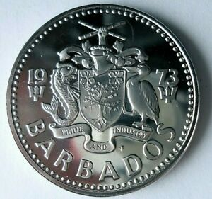 1973 BARBADOS 2 DOLLARS - Rare Proof Coin - Big Value Crown Coin - Lot #J21