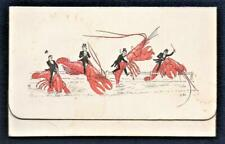 Victorian  LOBSTER RIDERS  3-fold Christmas Greetings Card