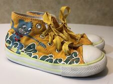 Kids Size 9 Ribbon Lace-Up Converse All Star Chuck Taylor Hi-Top Yellow Cat Surf