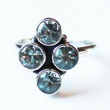 925 Solid Sterling Silver Faceted Semi-Precious Blue Topaz Stone Ring - Size 7