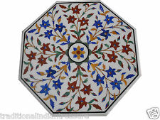 """24"""" White Marble Dining Coffee Table Top Marquetry Multi Inlay Housewarming Gift"""