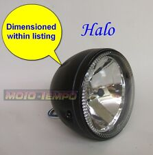 "HALO Headlight 5 3/4"" inch Black Metal Body Side Mount Bobber Cafe Racer Custom"