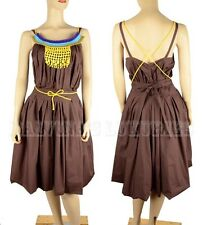 MARNI DRESS EMBROIDERED NECKLINE DELICATELY PLEATED FULL SKIRT BROWN COTTON 38
