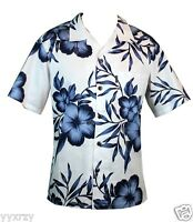 Men Aloha Shirt Cruise Tropical Luau Beach Hawaiian Party White Navy Hibiscus