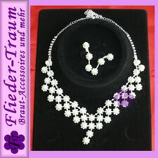 Schmuck Set mit Perlen / Strass, Kette + Ohrringe -  für Brautkleid Hochzeit