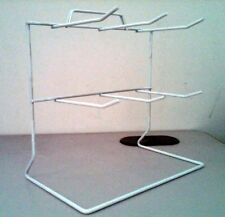 1 PC 2-TIER WHITE 6-HOOK WIRE COUNTERTOP RACK KEYCHAIN DISPLAY W/ SIGN HOLDER