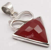 "925 Sterling Silver RED CARNELIAN GEMSTONE CHARMING Triangle Pendant 1.5"" NEW"