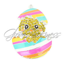 1PC 50x33mm Baby Chick Easter Egg Rhinestone Pendent Bubblegum Chunky Necklace
