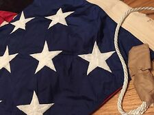 Vintage 50 Star Us Nation American Flag. Rope, Brass Clasp Ring Embroiled Star.