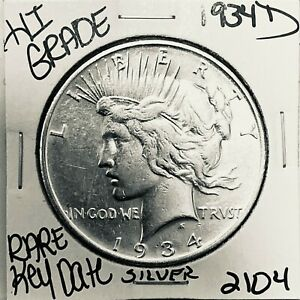 1934 D PEACE SILVER DOLLAR HI GRADE GENUINE U.S. MINT RARE KEY COIN 2104