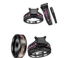 His Camo Titanium And Her 2.2 Ct Cz Couples 3 PCS Engagement Wedding Ring Set