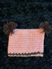 Crochet baby toddler Hat 8 to 12 months Color Peach/Brown