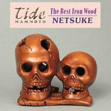 "1940's Japanese handmade Boxwood Netsuke ""TWO SKULL"" Figurine Carving"