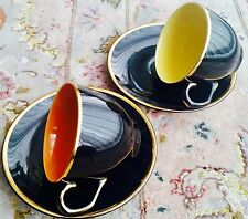 Paire de ANTIQUE ART DECO (1930 S) Madeleine Palissy porcelaine tasses & soucoupes.