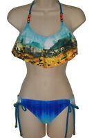 Hobie bikini set swimsuit size L blue flounce bra 2 piece swimwear new nwt