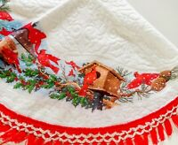 Vintage Christmas Tree Felt Skirt Embossed White w/ Red Cardinal Bird Fringe 48""