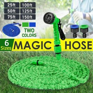 Flexible Expandable Water Garden Hose Pipe 7in1 Spray Gun 25 50 75 100 125 150Ft