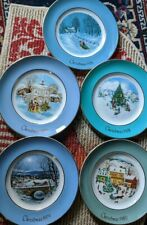 Set of 5 Avon Collector Plates Porcelain Christmas Plate Series 1976-1980