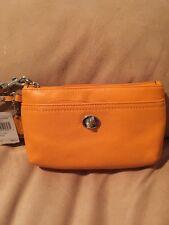 Coach Leather Wristlet Clutch NWT Bright Mandarin Orange $88 Small New