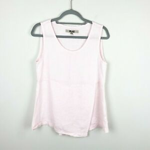 Flax Sleeveless Top Women's Size Small Linen Light Pink Scoop Neck