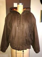 VINTAGE 90'S ADVENTURE BOUND BROWN LEATHER BOXY CROP HOODED BOMBER JACKET COAT*M