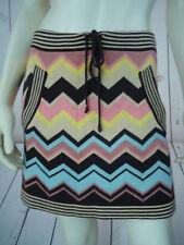 MISSONI TARGET Skirt S Mini Rayon Knit Drawstring Waist Zigzag Multicolor Print